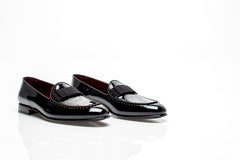 Black Patent Studded Loafers