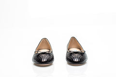 Black Quilted Leather Ballet Flats
