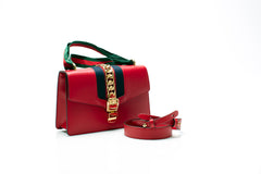 Sylvie Red Leather Shoulder Bag