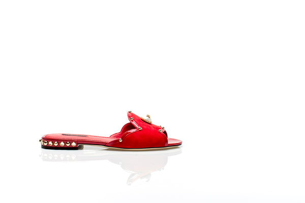 Red Leather Embellished Pearl Sandals