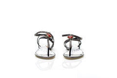Grey Raffia Red Heart Sandals