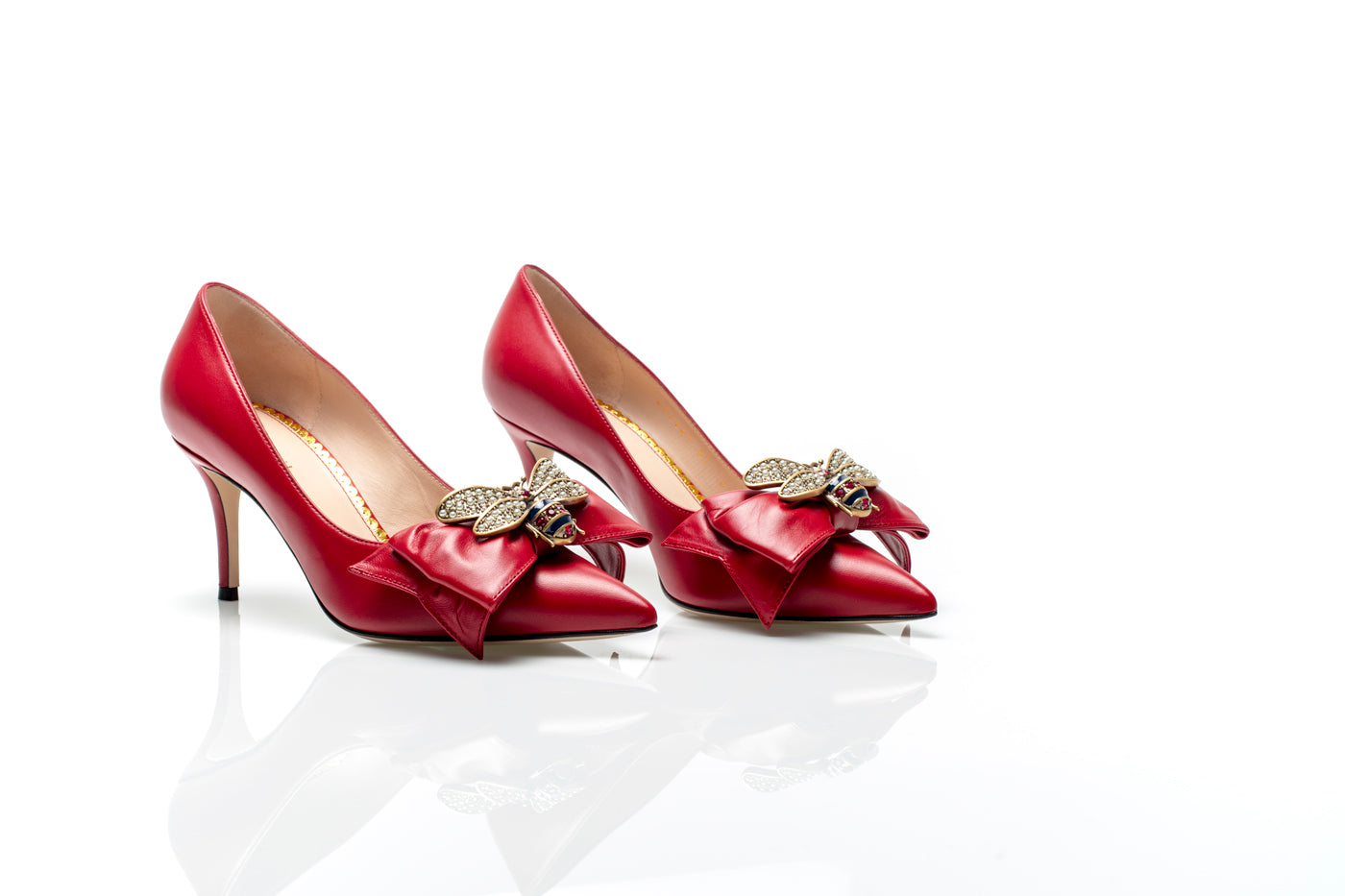 80894e486cd ... Bow Embellished Red Leather Mid Heel Pumps ...