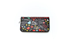 Black Printed Dauphine Zip-Around Wallet