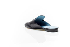 Etiquette Black Leather Moccasin Slides