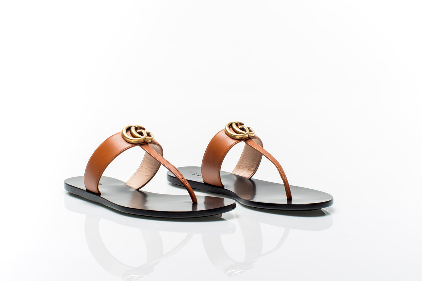 5207038dd6be Marmont GG Brown Leather Thong Sandals Marmont GG Brown Leather Thong  Sandals ...
