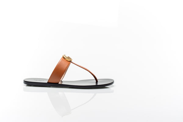 Marmont GG Brown Leather Thong Sandals