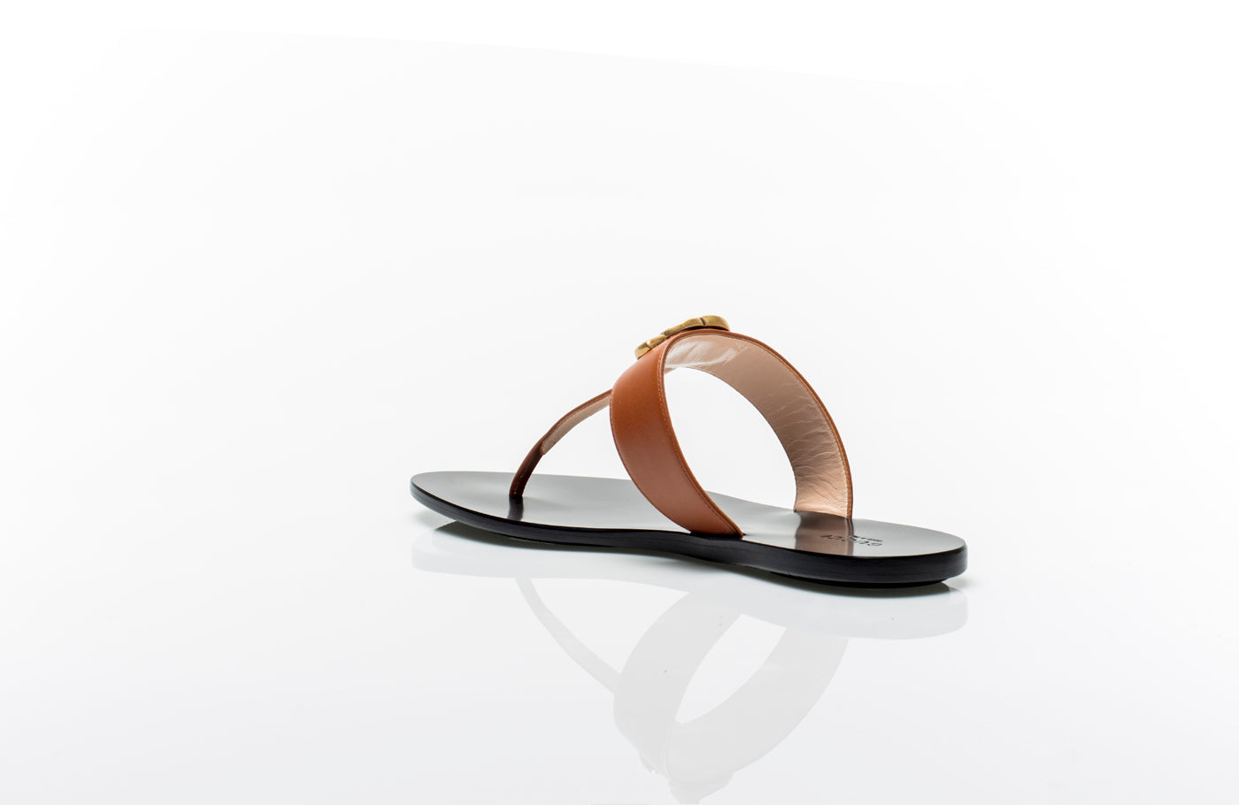 0a18f8750 ... Marmont GG Brown Leather Thong Sandals ...