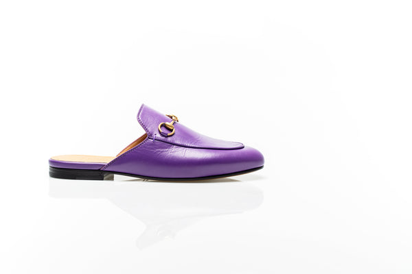 Princetown Purple Leather Slippers