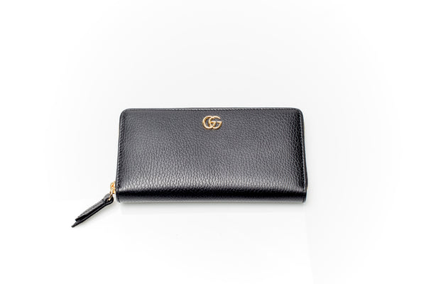 Black GG Leather Zip-Around Wallet
