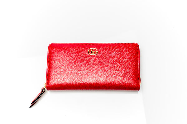 Red GG Leather Zip-Around Wallet