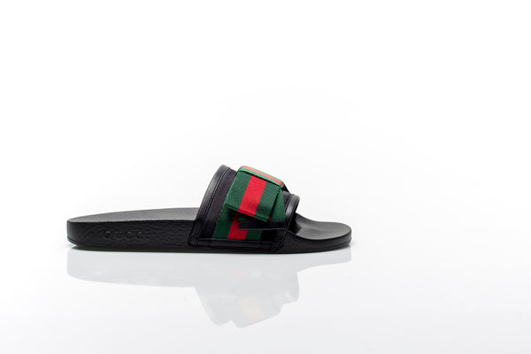 Pursuit Black Satin Slides with Web Bow