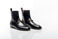 Black Leather Horsebit Flat Ankle Boots