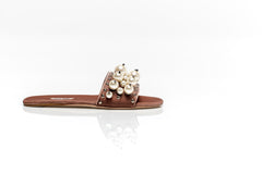 Velvet Flat Sandals With Pearls
