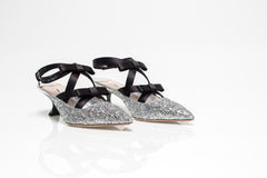 Silver Glitter Bow Embellished Pumps