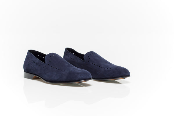 Navy Suede Detailed Loafers