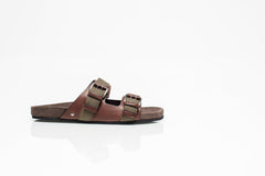 Brown Leather and Fabric Sandals