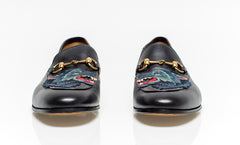 Black Leather Loafer With Wolf