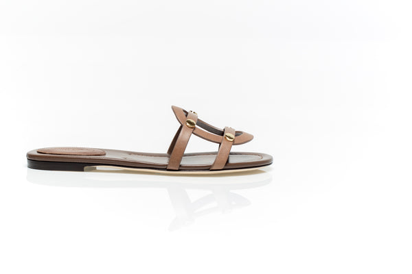 Damaris Brown Flat Leather Sandals