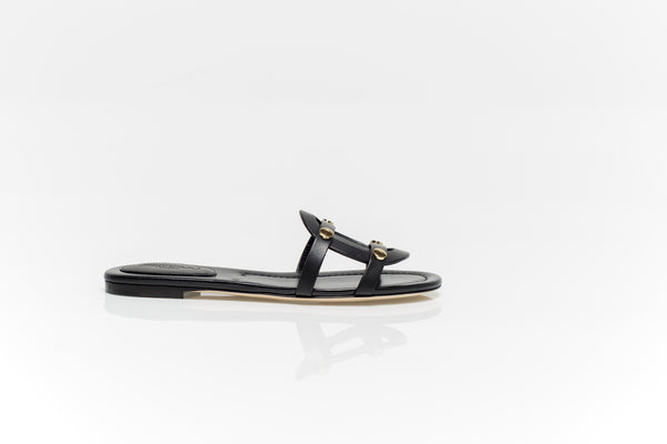 Damaris Black Leather Flat Sandals