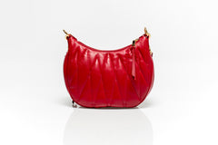 Red Matelassé Leather Belt Bag
