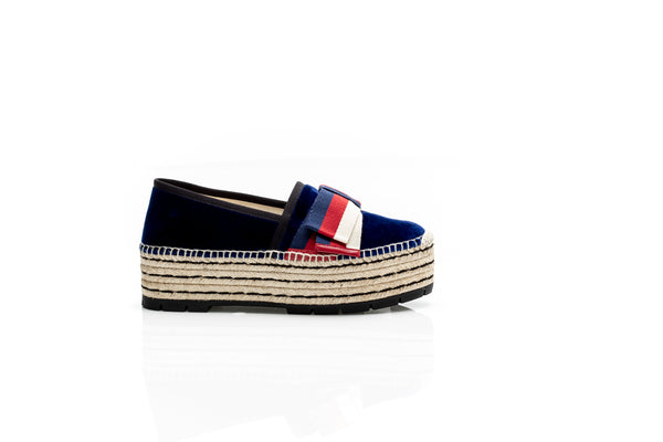 Navy Blue Espadrille with Sylvie Bow