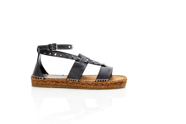 Denise Grey Leather Studded Flat Sandals