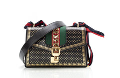 Sylvie Stars Black Leather Shoulder Bag