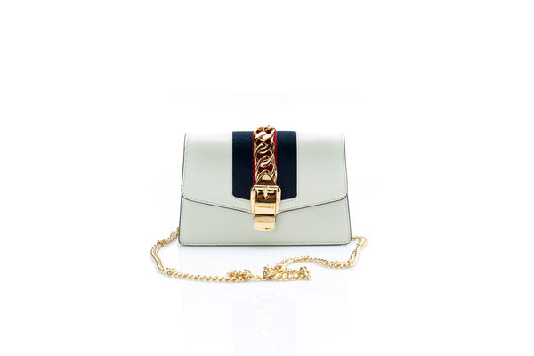 Sylvie Mini White Leather Shoulder Bag