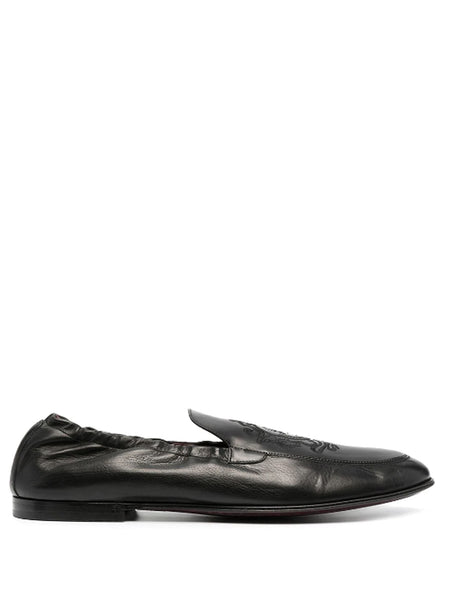 Dolce & Gabbana Black Leather Embroidery Loafers