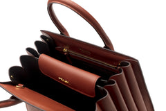 Bibliotheque Mini Textured Brown Leather Tote