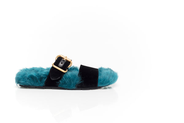 Velvet Slippers in Black and Teal