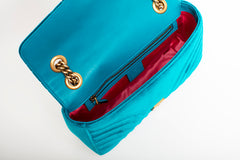 GG Marmont Velvet Turquoise Quilted Shoulder Bag