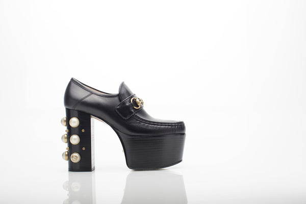Leather Platform Loafers with White Pearls