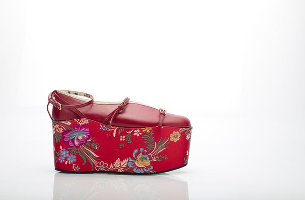 Convertible Red Jacquard Platforms