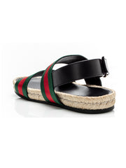 Green and Red Web Strap Sandals
