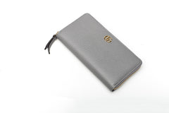 Grey Leather Zip-Around Wallet