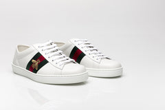 Ace Embroidered Bee Leather Sneakers