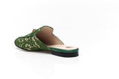 Princetown Green Floral Lace Slippers