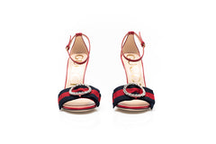 Embellished Gros Grain Red Leather Sandals