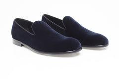 Navy Blue Velvet Loafers