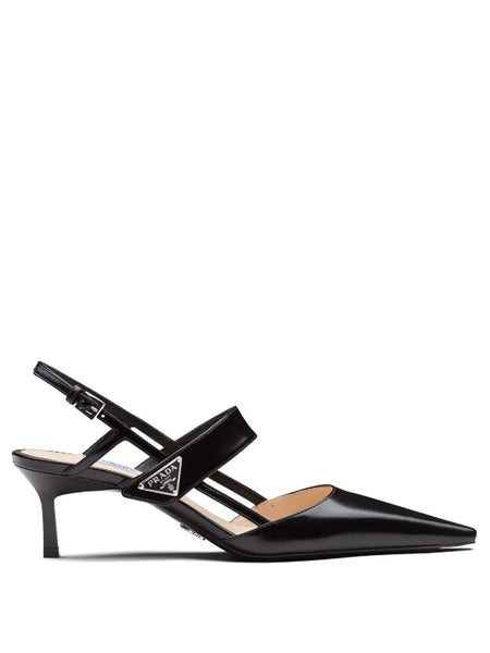 Prada Polished Leather Slingback Pumps
