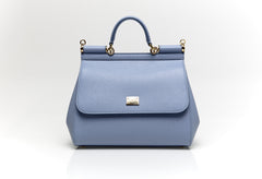 Sicily Blue Leather Tote Bag