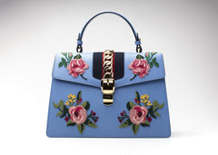 Sylvie Medium Chain-Embellished Appliqued Leather Tote