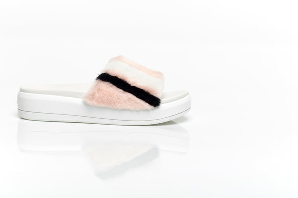 Striped Pink Shearling Sandals
