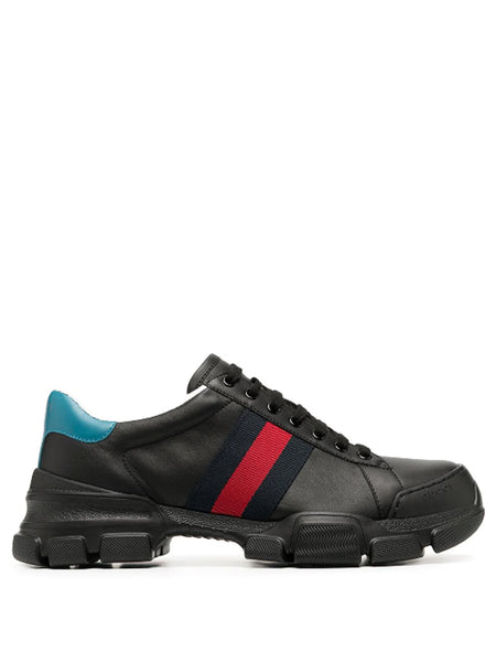 Gucci Web Stripe Black Leather Sneakers