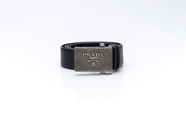 Textured Metal Black Leather Belt