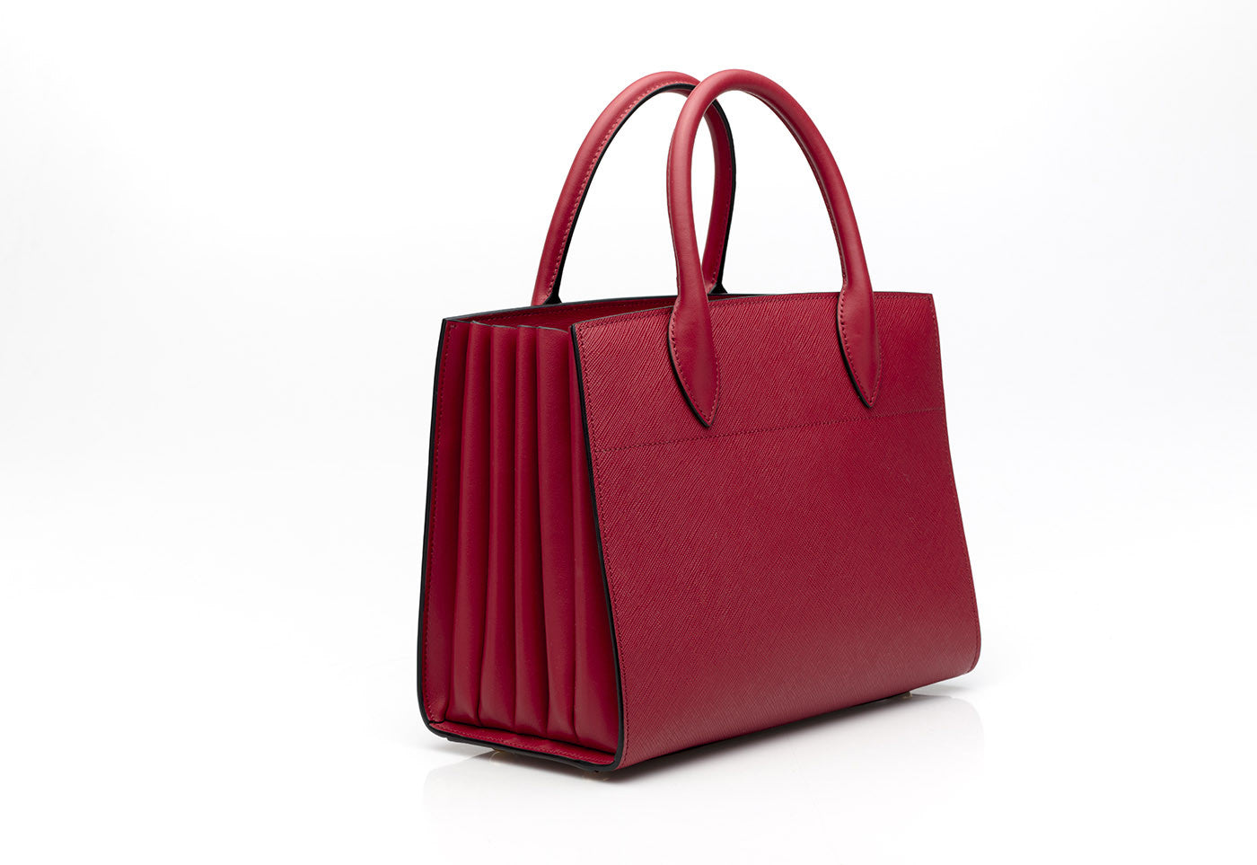 ff60478dfd03 Bibliotheque Mini Textured Red Leather Tote Bibliotheque Mini Textured Red Leather  Tote ...