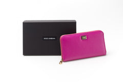 Fuschia Pink Dauphine Leather Wallet