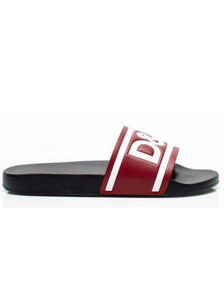 Burgundy and White Rubber Slides