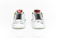 Printed Applique White Leather Sneakers